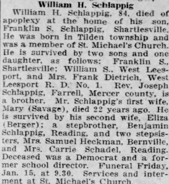 William H Schlappig death - William II. Schlappig William H. Schlappig, 84....