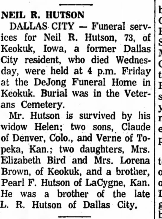 Neil R. Hutson funeral - NEIL R. HUTSON DALLAS CITY — Funeral services...