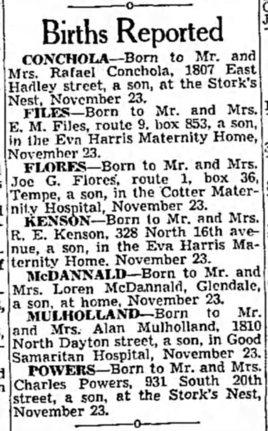 Allen Mulholland son newspaper birth report - Births Reported CONCHOtA—Born to Mr. and Mrs....