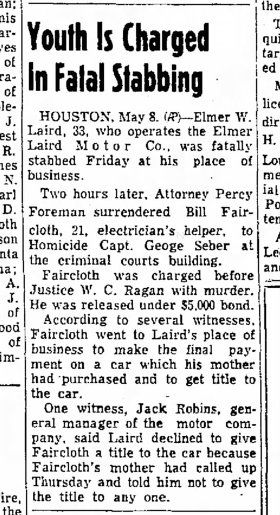 info re: elmer laird - Iraan; Harrison of Colorado J. s e R. James N....