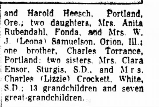 mrs. mattie heesch obit 1958-2 - j and Harold Heesch, Portland, i Ore.; two...
