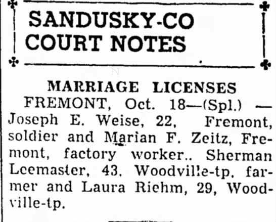 - 1 SANDUSKY-CO COURT NOTES MARRIAGE LICENSES...