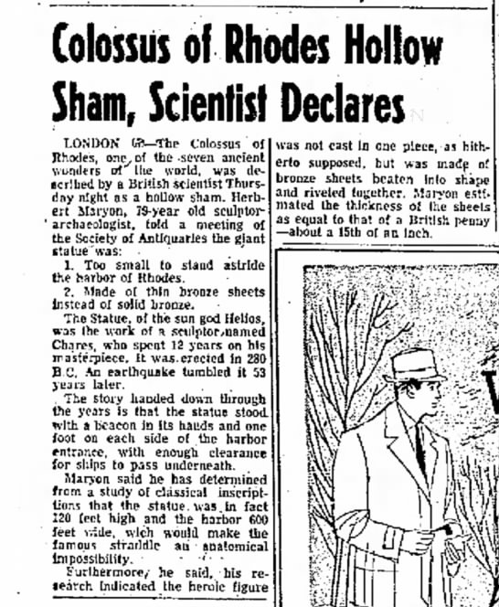 Herbert Maryon on the Colossus of Rhodes, Abilene Reporter-News, 5 December 1953 - Colossus of Rhodes Hollow Sham, Scientist...