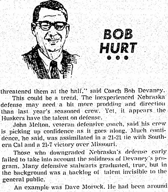 1970.10.20 Bob Hurt column on Nebraska 2/3