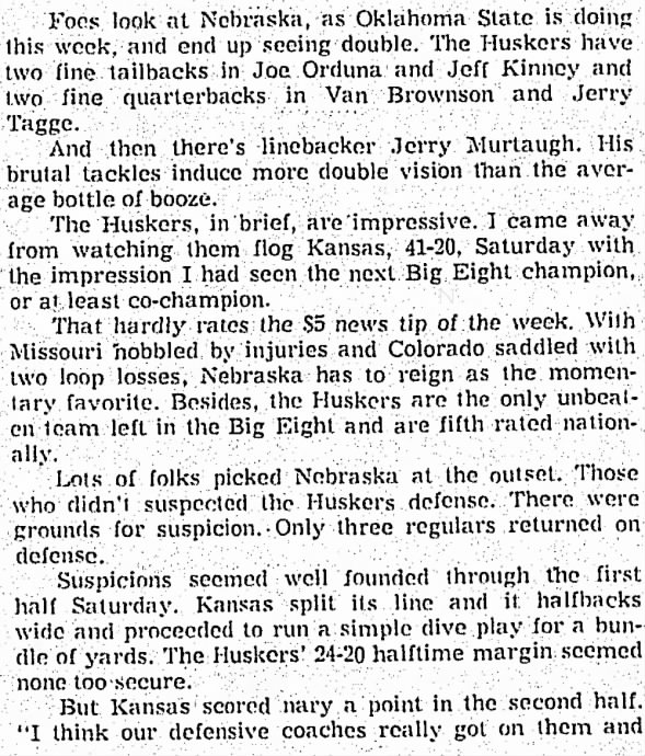 1970.10.20 Bob Hurt column on Nebraska 1/3