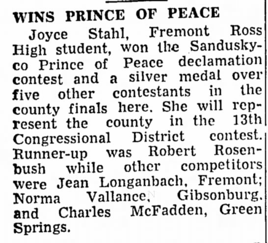 Jean Longanbach High School Contest 7 Dec 1943 - WINS PRINCE OF PEACE Joyce Stahl, Fremont Ross...