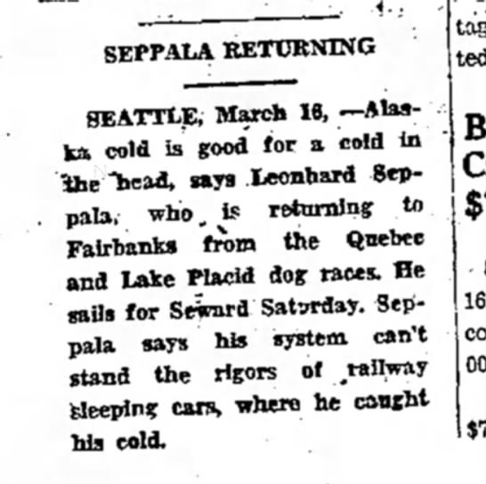 - SEPPALA RETURNING SEATTLE, March 18, —Alaska...