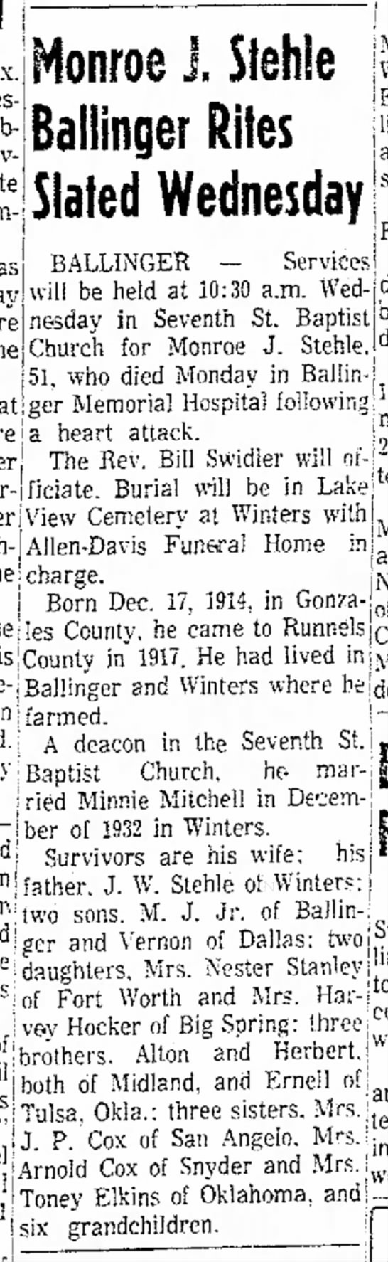 Monroe J Stehle death, Abilene Reporter-News (Abilene, Texas) 28 Jun 1966, pg 9 - Siehie Baliinger Rites Slated Wednesday object...