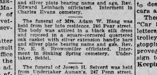 Mrs. Adam W. Haag funeral - Marie of veteran, several result office the ad....