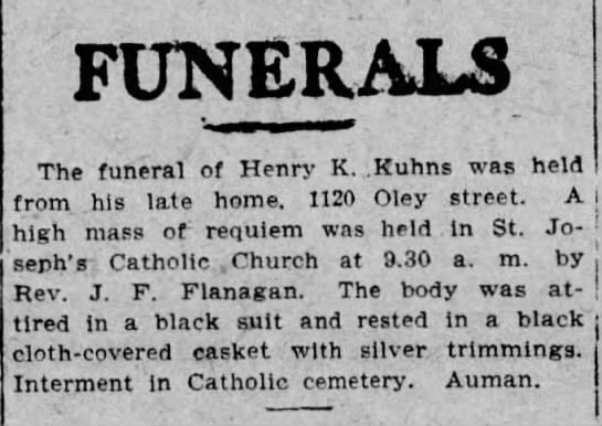 - FUNERALS The funeral of Henry K. .Kuhns was...