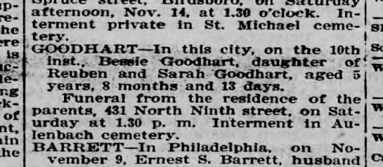 Bessie Goodhart - - re - Is de - - of the afternoon, Nov. 14, at...