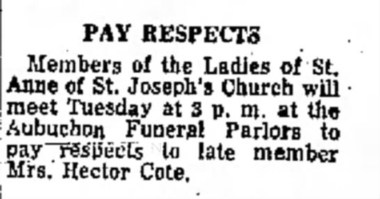 fitchburg Sentinel 2 February 1970 - the PAY RESPECTS Members of the Ladies of St....