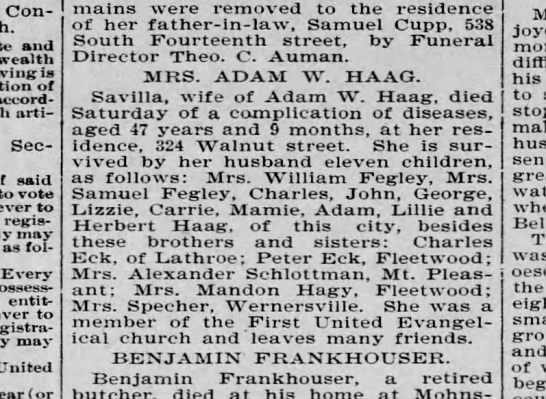 Mrs. Adam W. Haag obit - Constitution and is of accordance article...
