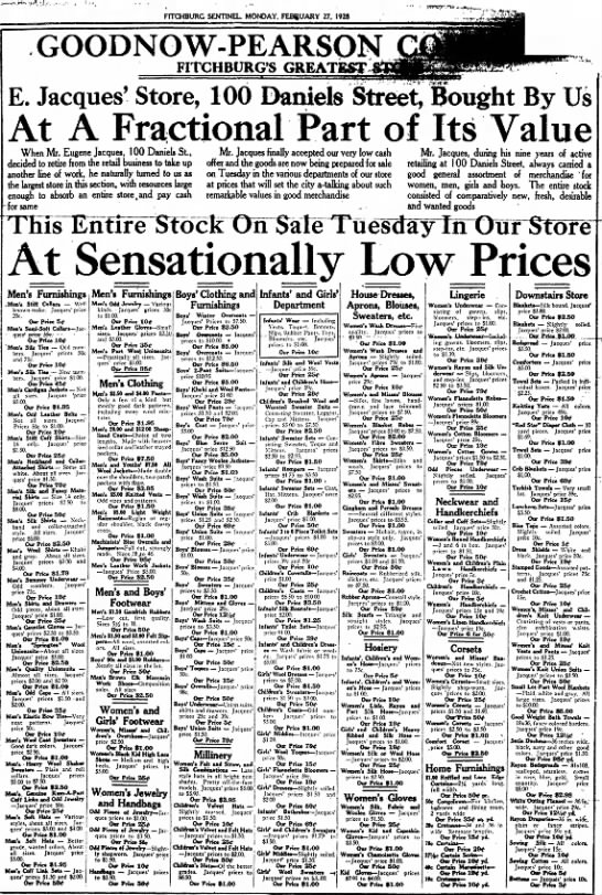 Fitchburg Sentinel 27 February 1928. Eugene Jacquess - FITCHBURG SEKTTNEU MONDAY, FEBRUARY 27, 192$ |...