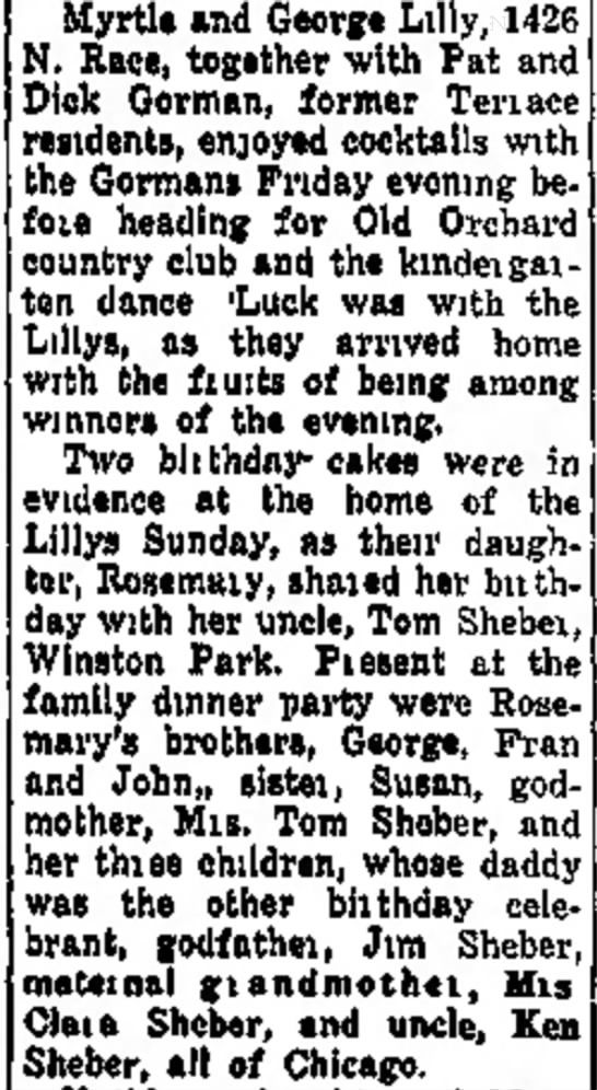 Rose Lilly Birthday - Daily Herald 12-10-1959 - at Sunday, Vivian the to their Attending Susan...