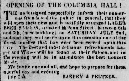 18590701_peterbarbeycolumbiahall - OPENING OF THE COLUMBIA HALL ! THE undersigned...