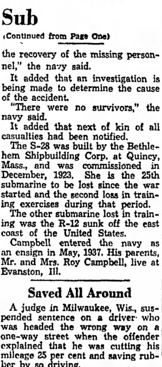 S-28 loss story in Fitchburg Sentinel part two - return and termed war cent the to Sub...