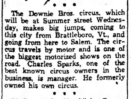 Sparks 7-11-1936 - Hugh The Downie Bros- circus, which will be at...