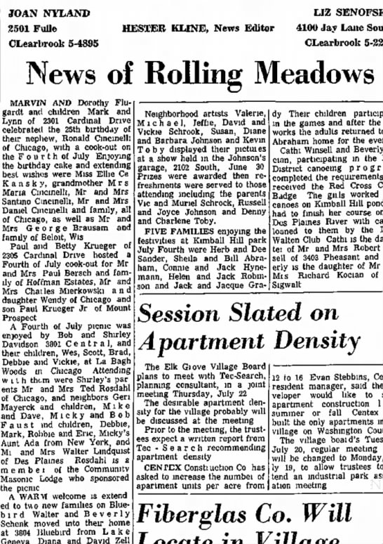 paul bersch Daily Herald July 8, 1965 - JOAN NYLAND 2501 Fulle CLearbrook 5-4895 HESTER...