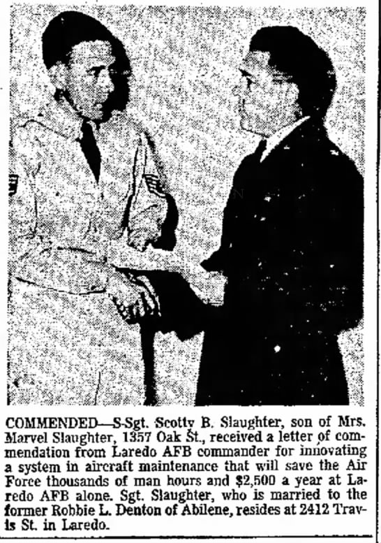 SSgt Scotty Slaughter Recv's Award from  7 Feb 1955 - COMMENDED--S-Sgt. Scotty B. Slaughter, son of...