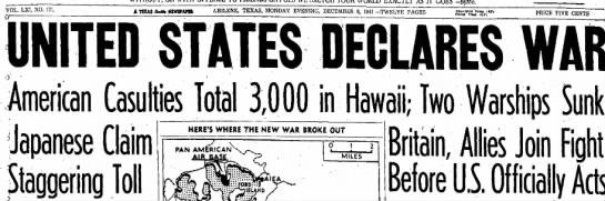 U.S. Declares War After Pearl Harbor Attack