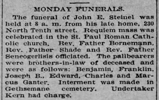 John E. Steinel obit - ' MONDAY FUNERALS, The funeral of John E....
