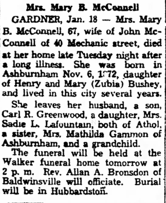 Mary McConnell Greenwood mother - the in Mrs. Mary B. McCeonell GARDNER, Jan. 18...