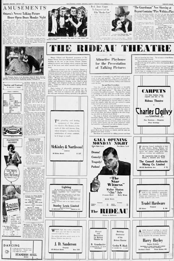 Rideau Theatre opening