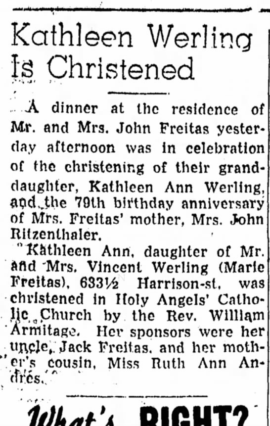 - Kathleen Werlina Is Christened A dinner at the...