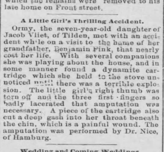 Vliet, Ormy, dau og Jacob Vliet - 1895 - were late home on Front street. A Little Girl's...