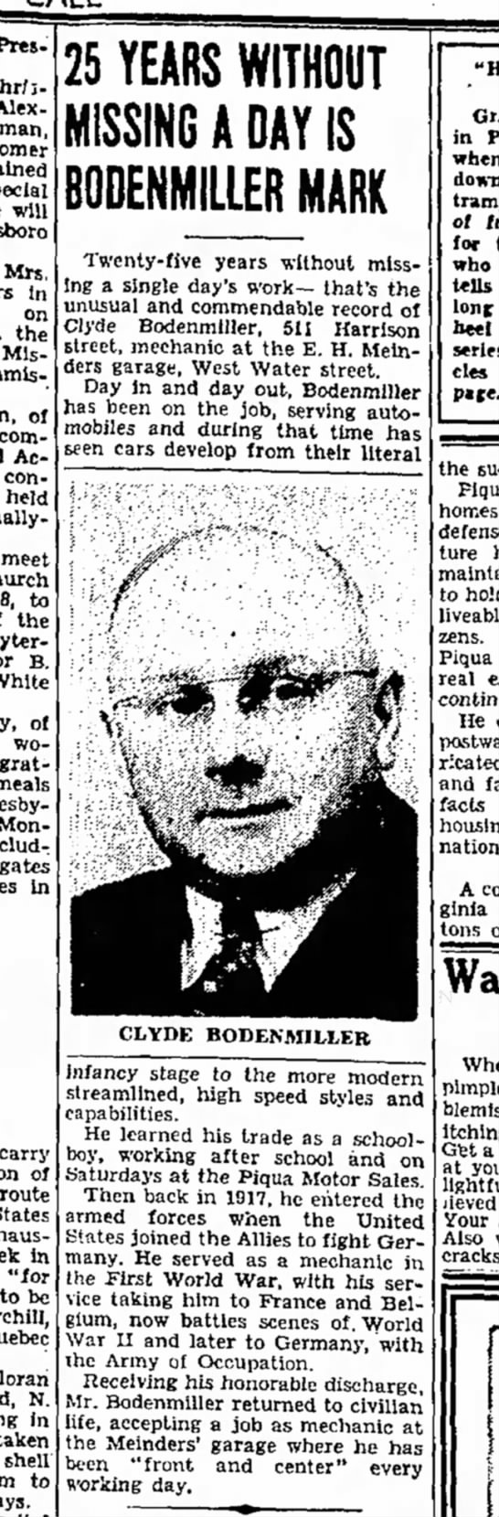 Clyde Bodenmiller 1944 work article - Presbyterian Chr; - Alex - Homer special will...