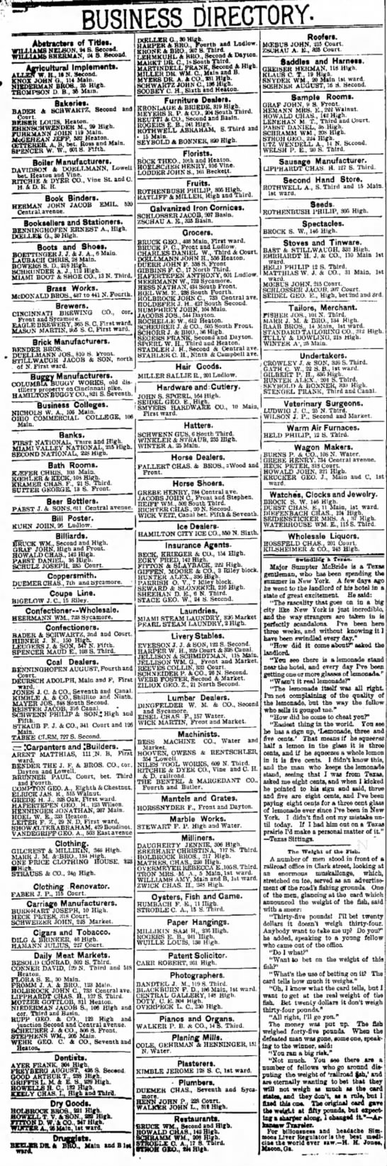 Hanilton 1891 Business Directory - BUSINESS DIRECTORY- Abstractor* of TWtt....