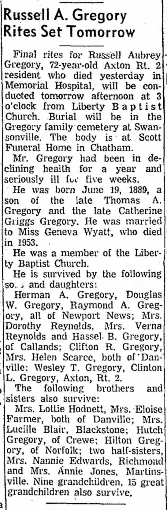 Russell Aubrey Gregory - Obit Oct1961 - died and in of and Russell A. Gregory Rites Set...