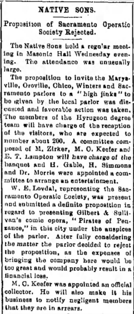 W E Lovdal, 1 Feb 1900, woodland Daily Demo, pg 1, col 4, NATIVE SONS - NATIVE SONS. reposition of Sacramento Operatic...