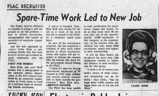 PSAC - CATHY RINK ORGANIZER PA GROUP 15 FEB 1968 - PSAC RECRUITER I Spare-Time Spare-Time...