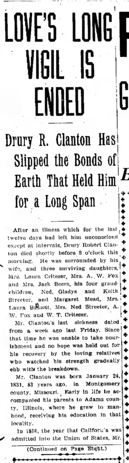 Drewry Clanton Obit 12 Aug 1914 Page 1, Col 1 and Pg 8, Col 3 - Drury R. Clanton Has Slipped the Bonds of Earth...