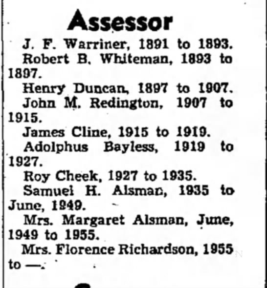 John M. Redington Decatur Co Assessor - to Assessor J. F. Warriner, 1891 to 1893....