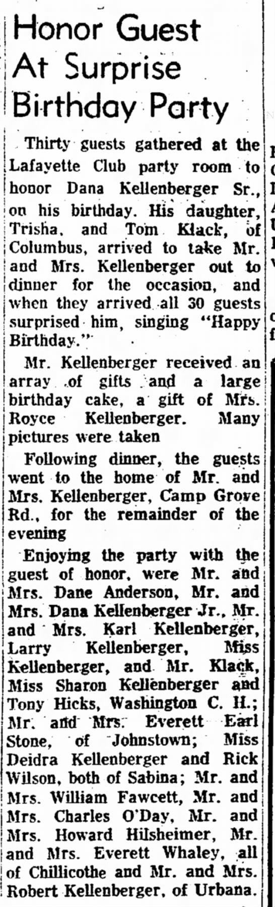 Hilsheimer_Howard_24apr1969 - Honor Guest j /ikj- ^ . . Birthday Party - ,...