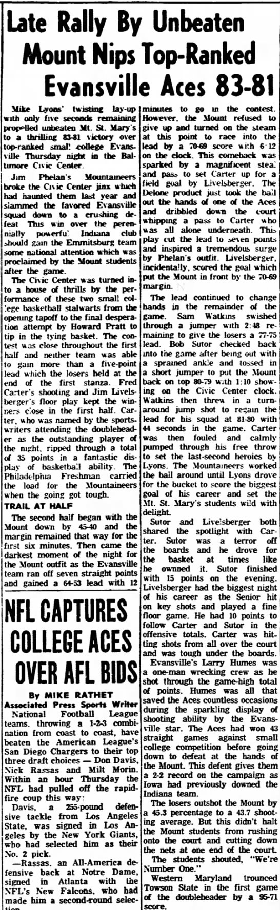 Dec 17, 1965 Gettysburg Times - on a up a Orange Late Rally By Unbeaten Mount...
