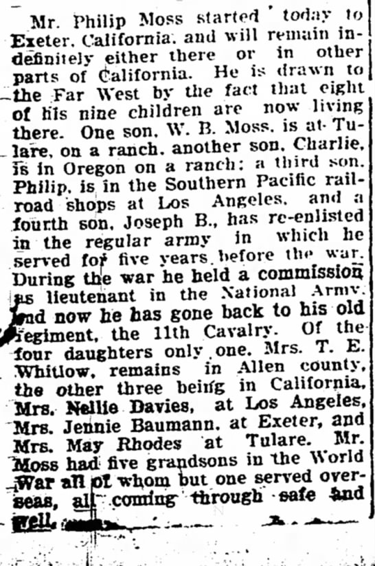 Phillip Moss Leaves Iola Kansas for California - The Iola Register 29 Sept 1919 Page 3 - Mr. Philip Moss started ' today uj Exeter,...