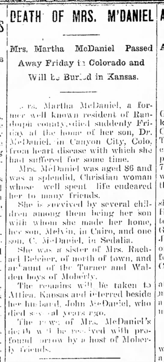 Martha Walden McDaniel death notice - Moberly Weekly Monitor, 14 Jan 1908, p3