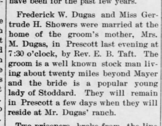 Dugas wedding announcement - past year-. Frederick W. Dugas and Miss...
