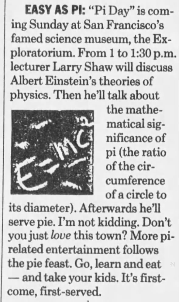 Pi Day with Larry Shaw