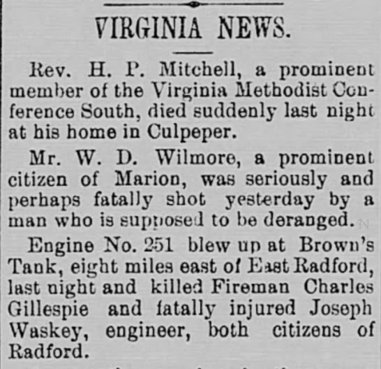 Gillespie, Charles, 1897 - VIRGINIA NEWS. Rev. H. P. Mitchell, a prominent...