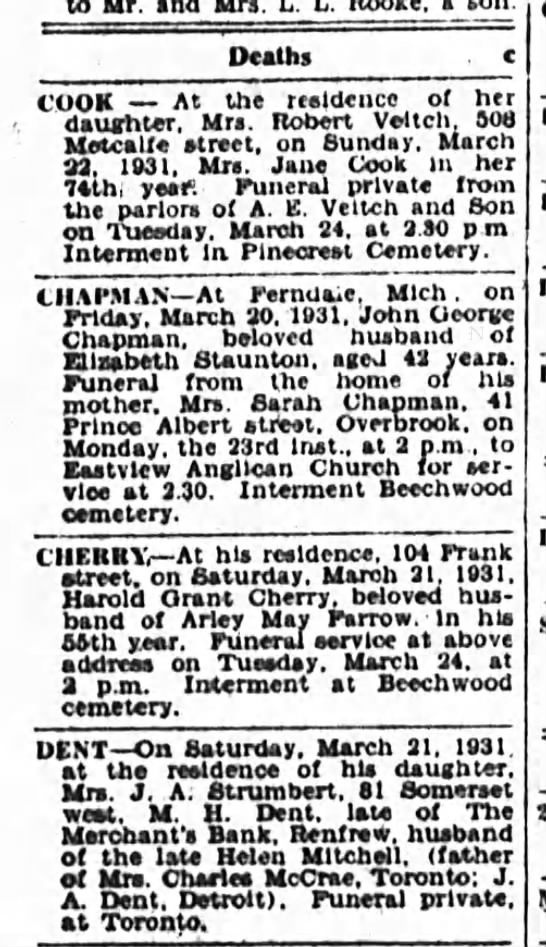Harold Cherry Obit - to Mr. and Mrs. a Deaths COOK At the reeldence...