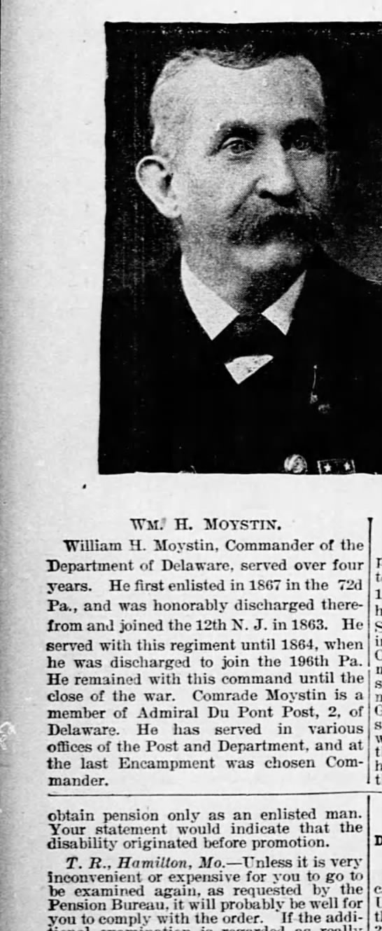 The National Tribune 30 November 1899 William H Moystin - obtain pension only as an enlisted man Your...