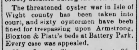 Alexandria Gazette (VA) - Sept 22, 1900 - pg 2 - BLOXTON oyster beds @ Battery Park? - The threatened oyster war in I-sle of Winht...