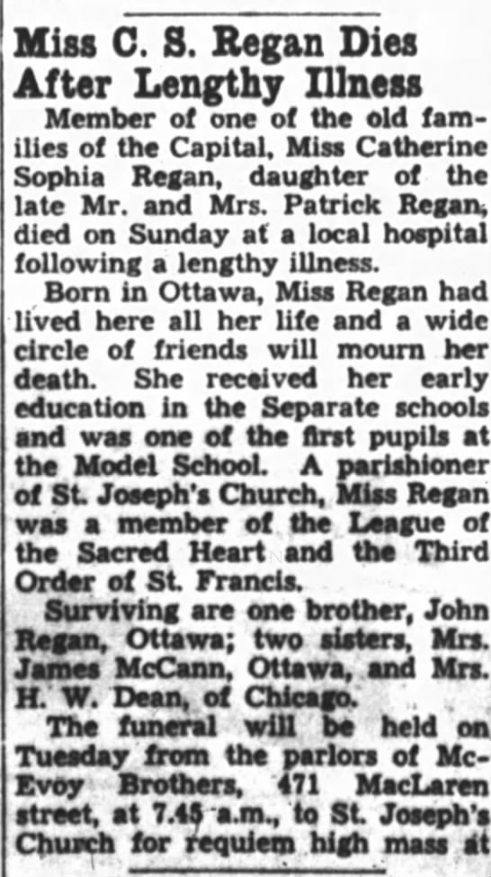 - Miss C. S. Regan Dies After Lengthy Illness...