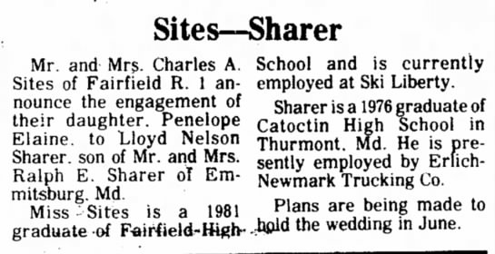 1982 Penelope Sites - Sites--Sharer Mr. and Mrs. Charles A. Sites of...