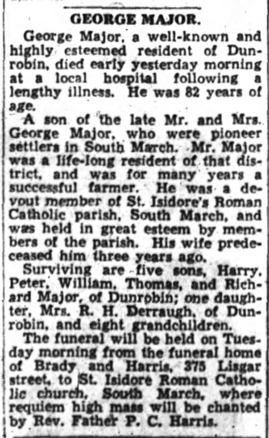 George Major Obituary  Ottawa Journal Nov 19, 1934 - ' by Rev. Father P. C. Harris. GEORGE MAJOR....